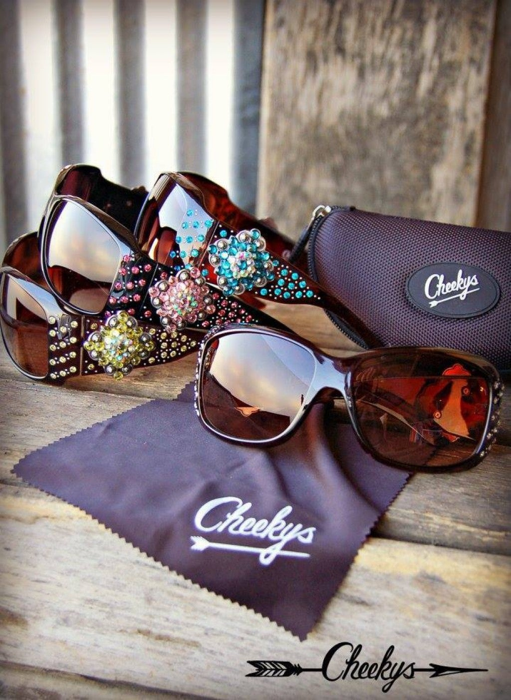 Cheekys Black Concho Sunglasses with Pink Stones
