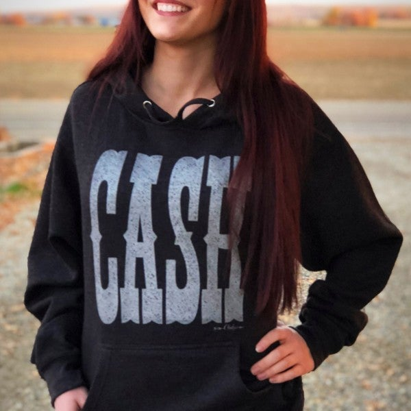 CASH on Vintage Black Unisex Hoodie with Silver Shimmer Print