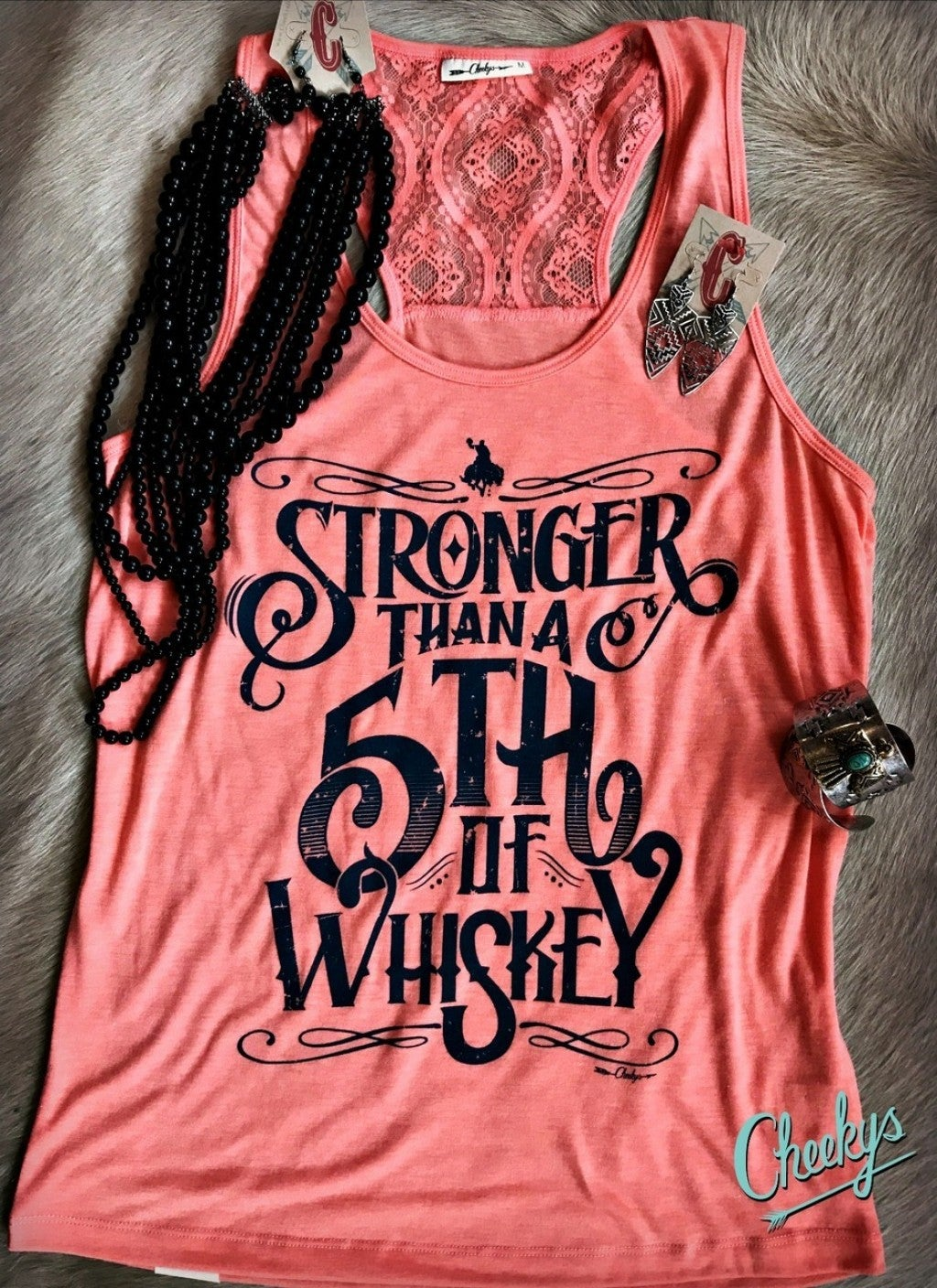 Stronger Than a Fifth of Whiskey Blushed Peach Laceback Tank with Denim Print
