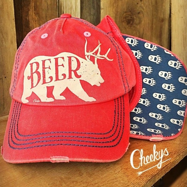 Beer Bear Hot Watermelon Distressed Fabric Cap with White Print