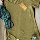 Military Green Scoop Layering Tee