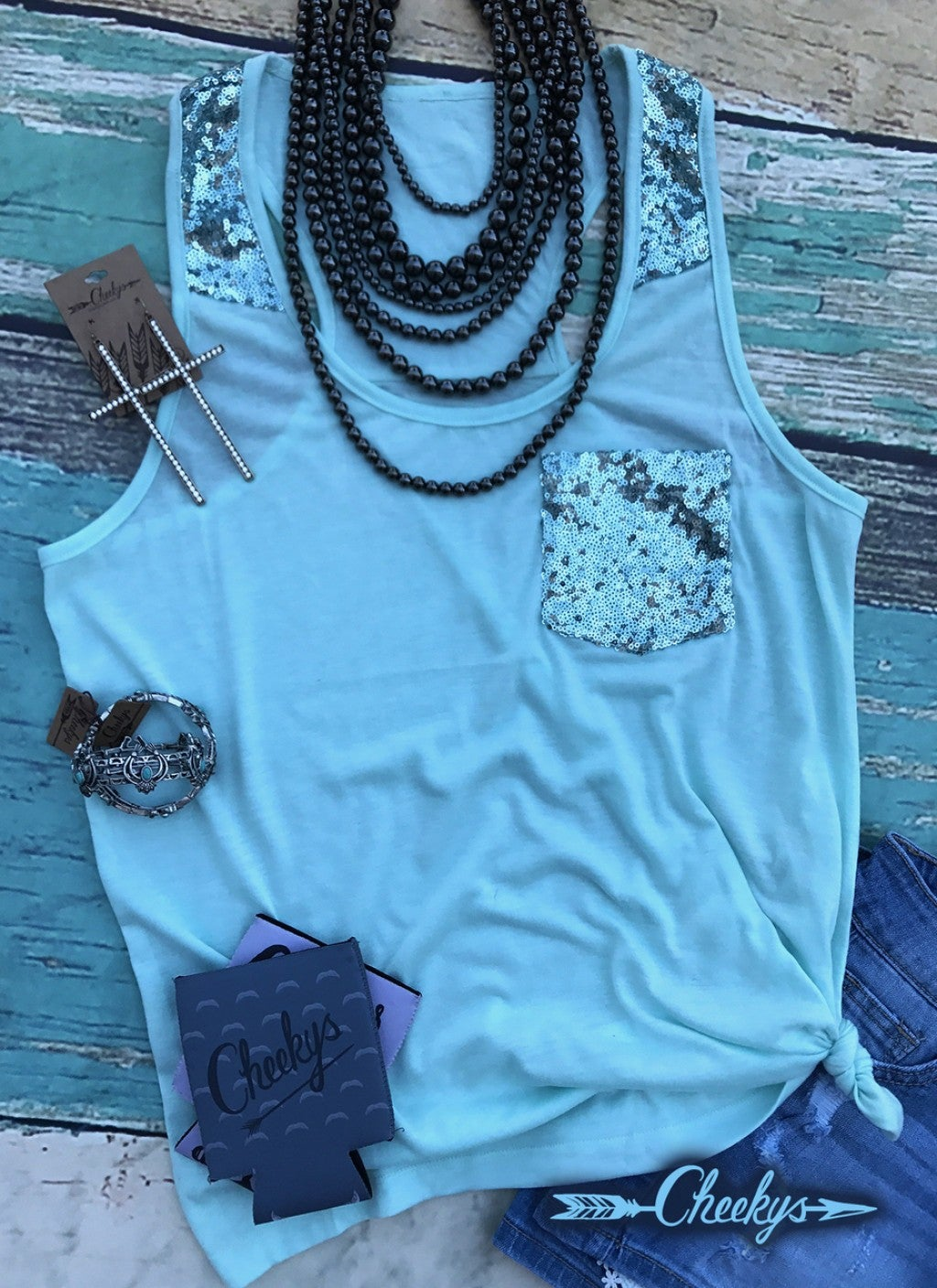 Tiffany Blue Sequin Tank