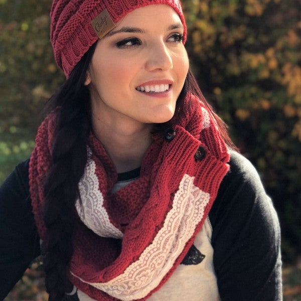 Cheekys Cable Knit Scarf Wine