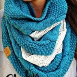 Cheekys Loretta Patina Cable Knit Logo Scarf