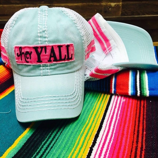 Cheekys Hey Y'all Turquoise Cap with Pink Detailing