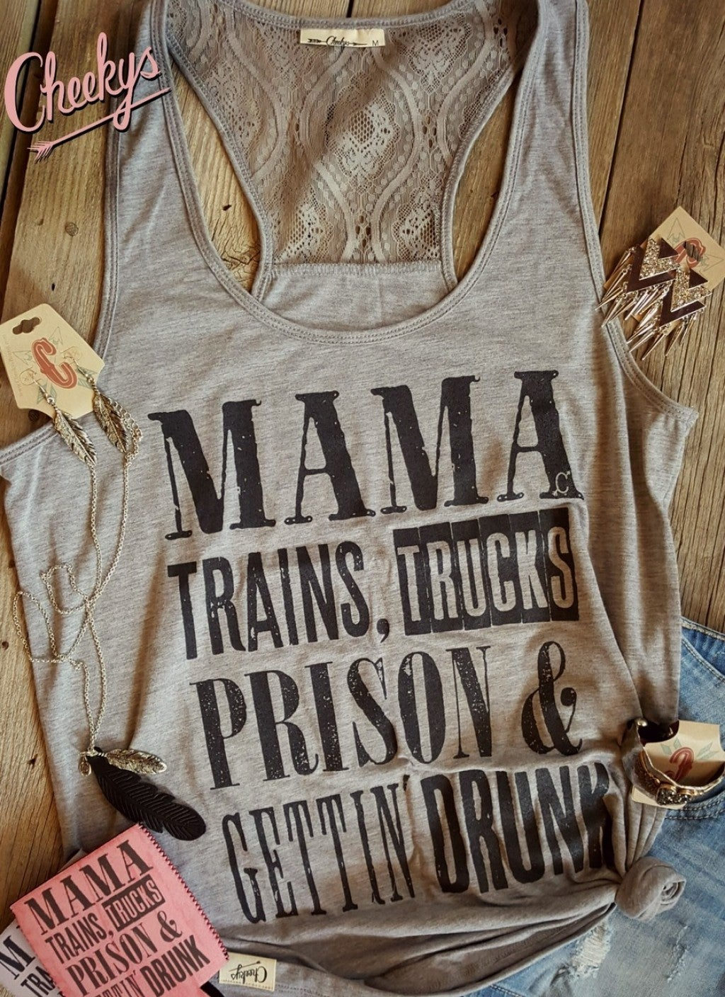 Perfect Country and Western Song Gravel Road Laceback Tank with Coal Mine Print