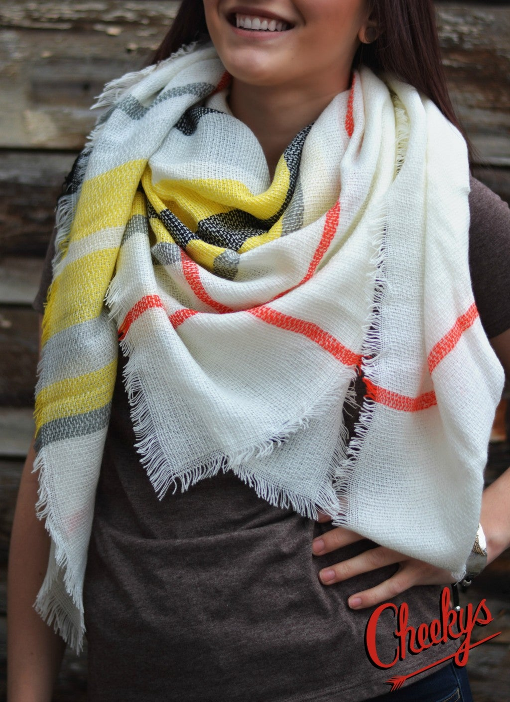 Plaid Blanket Scarf Yellow