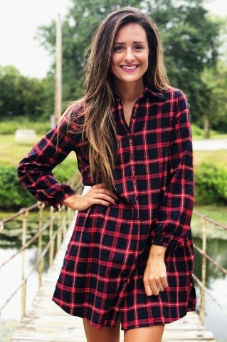 Line Of Sight Flannel Dress