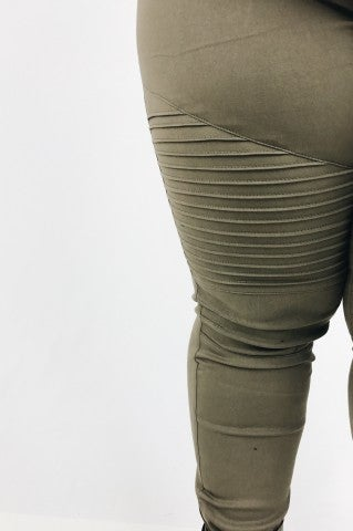 Anticipated Moto Jeggings - Olive