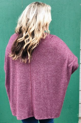 No End In Sight Top- Burgundy- Plus