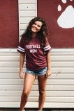 Football Mom Tee - Burgundy