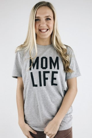 Mom Life Statement Tee- Heather Grey