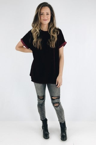 Love Yourself Velvet Top - Crimson