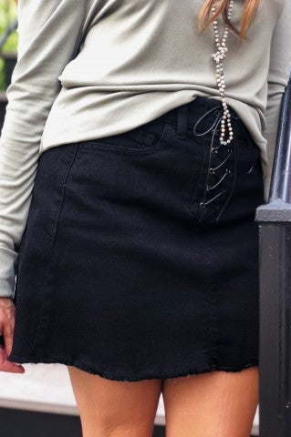 Tied and True Black Denim Skirt