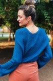 Out Of The Dark Crop Sweater - Blue