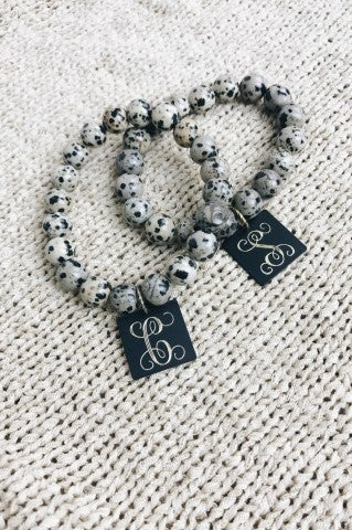 Spotted Glass Bead Initial Bracelet