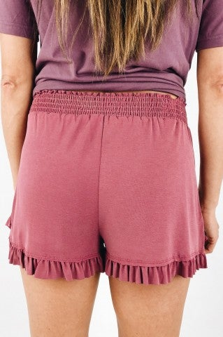 Bella Note Ruffle Shorts - Raspberry
