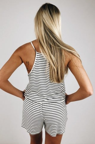 Locked Up Romper- Stripe