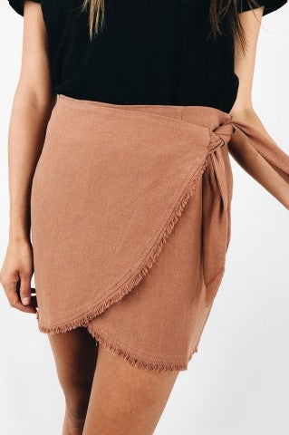 Take Me Away Wrap Mini Skirt