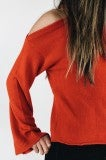 Flaming Romance Cold Shoulder Sweater