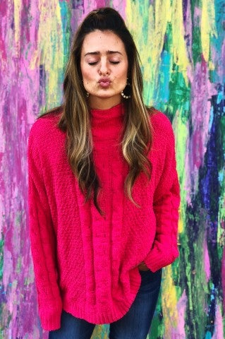 Waste A Moment Sweater - Raspberry