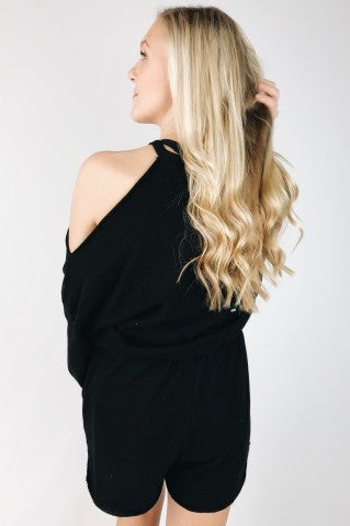 Tell My Heart Romper - Black