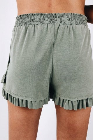 Bella Note Ruffle Shorts - Sage