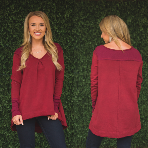Crimson Washed Knit Tunic