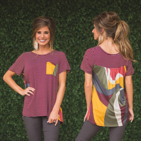 Burgundy Striped Printed Back Tee