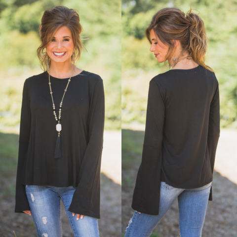 Black Scoop Neck top With Bell Sleeves