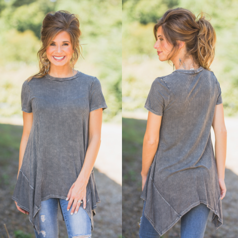 Ribbed Mineral Wash Charcoal top