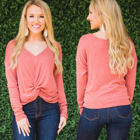 Brick Front Knot V Neck Top