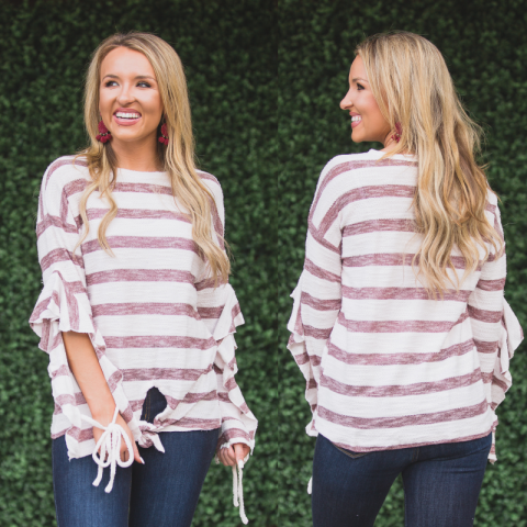 Wine and White Striped Ruffle Sleeve Top