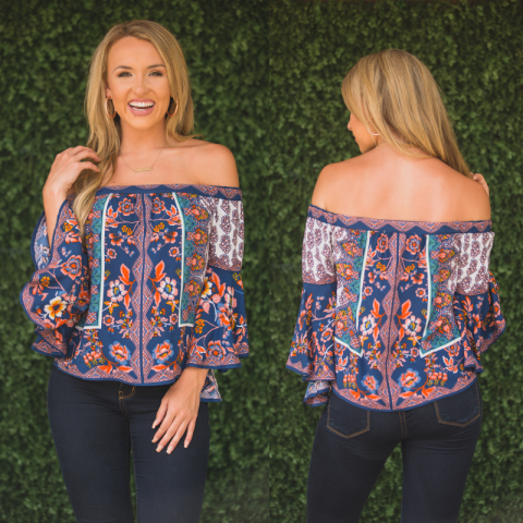 Navy Neely Off Shoulder Floral Print Top