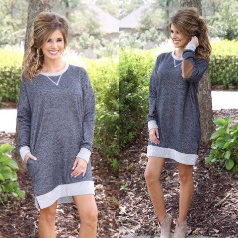 Grey  Sweatshirt Dress with Elbow Patches