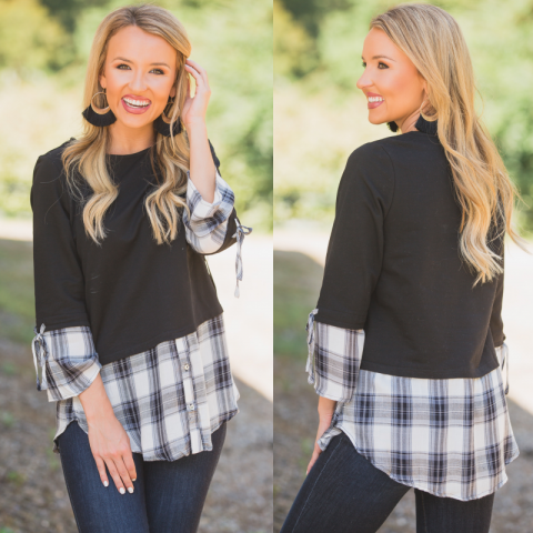 Black and White Plaid Underlay Top
