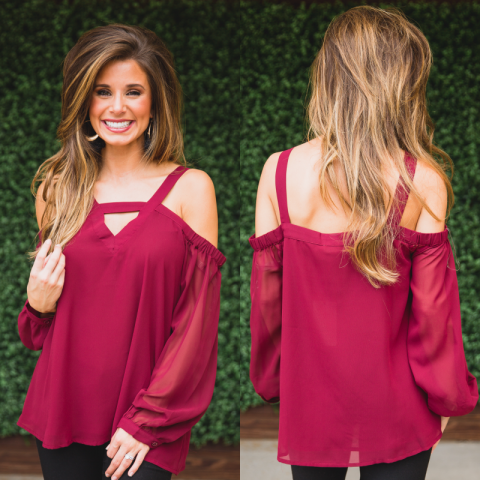 Maroon Long Sleeve Open Shoulder Top With Keyhole