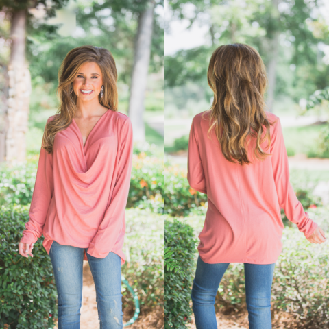 Salmon Draped Front Top