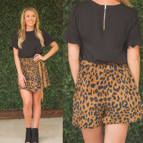Brown Leopard Print Skort