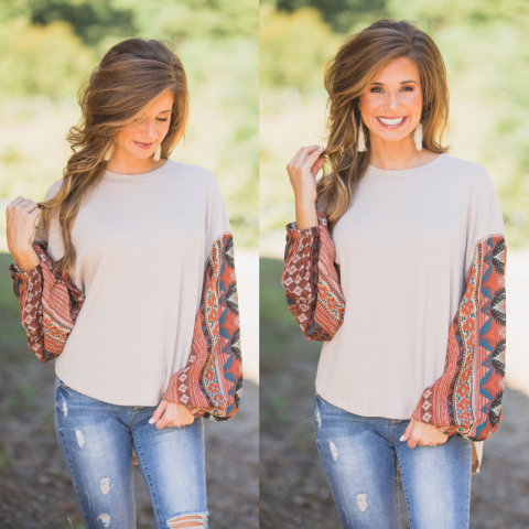 Taupe ribbed top with fall printed sleeves