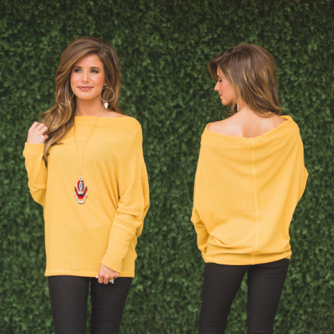 Saffron Dolman Off Shoulder Top
