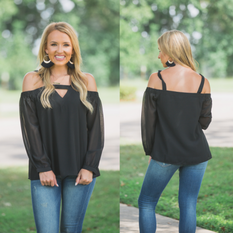 Black Long Sleeve Open Shoulder Top With Keyhole