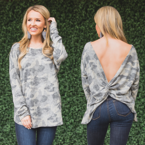 Camo Knot Back Sweater