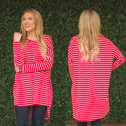 Red and White Striped High Low Tunic