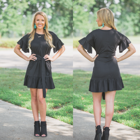 Black Ruffles Tie Front Dress