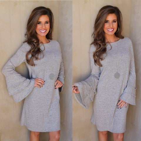 Taupe DRESS with Double Ruffle Sleeves