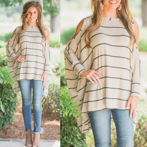 Taupe and Black Open Shoulder Lightweight Sweater