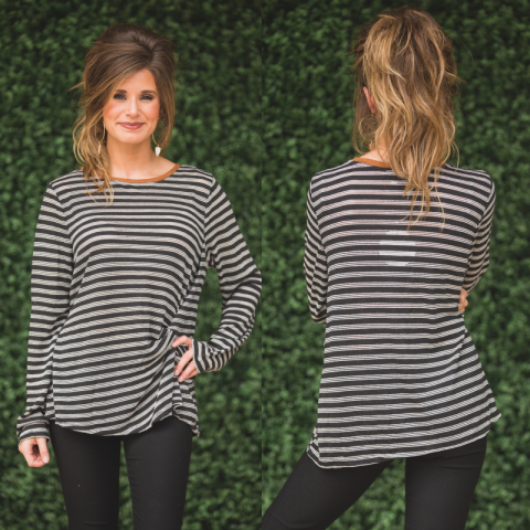 Black All Day Everyday Striped Top