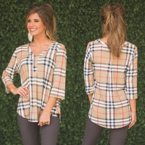 Taupe Plaid Three Quarter Sleeve Top
