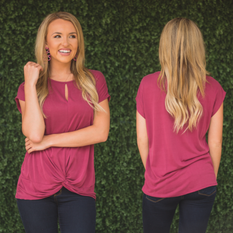 Light Burgundy Twisted Top